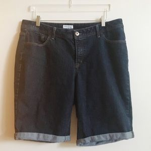 St Johns Bay Denim Shorts Dark Wash Zip Fly Sz 18W